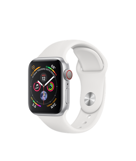 Apple Watch Series 4 LTE 40MM Silver / White Sport Band - MTVA2