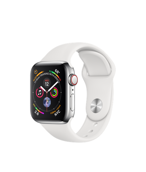 Apple Watch Series 4 40MM Stainless Steel / White Sport Band