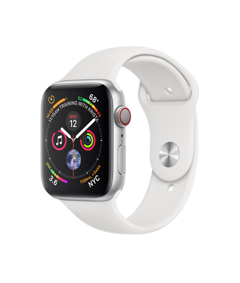 Apple Watch Series 4 LTE 44MM Silver / White Sport Band - MTUU2