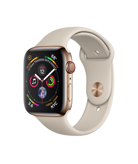 Apple Watch Series 4 44MM Gold Stainless Steel / Stone Sport Band - MTV72