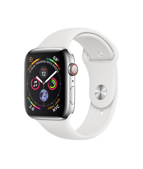 Apple Watch Series 4 44MM Stainless Steel / White Sport Band