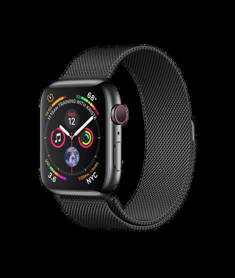 Apple Watch Series 4 44MM Black Stainless Steel / Black Milanese Loop - MTV62