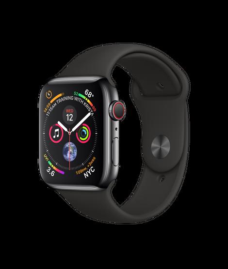 Apple Watch Series 4 44MM Black Stainless Steel / Black Sport Band - MTV52