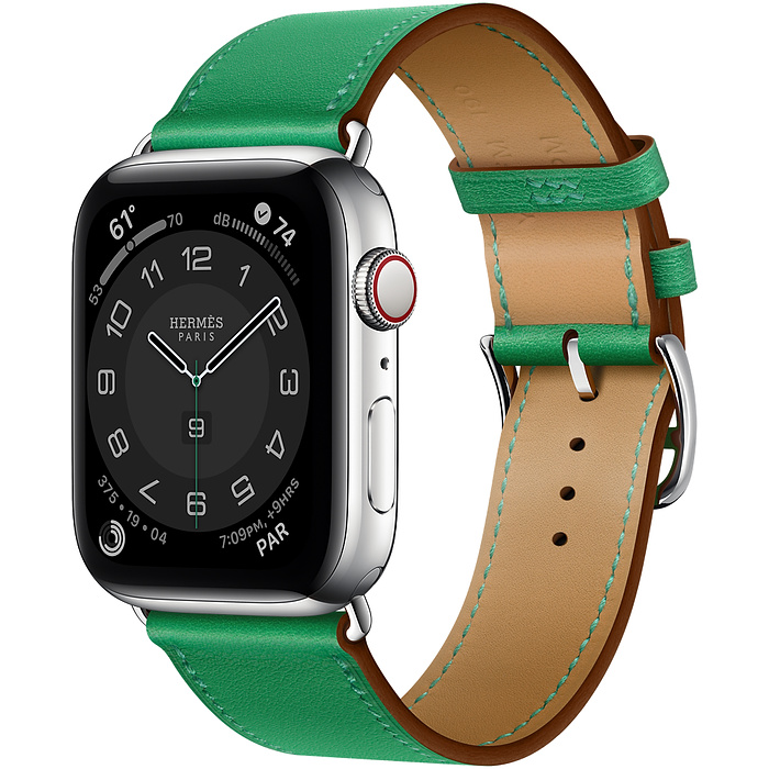 Apple Watch 6 Hermès 44mm Silver Stainless Steel Case with Single Tour Green