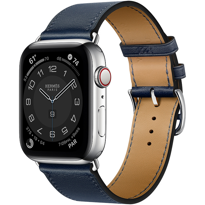Apple Watch 6 Hermès 44mm Silver Stainless Steel Case with Single Tour Blue