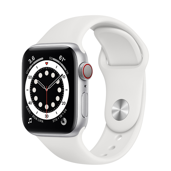 Apple Watch 6 LTE 40mm Silver / White Sport Band M06M3
