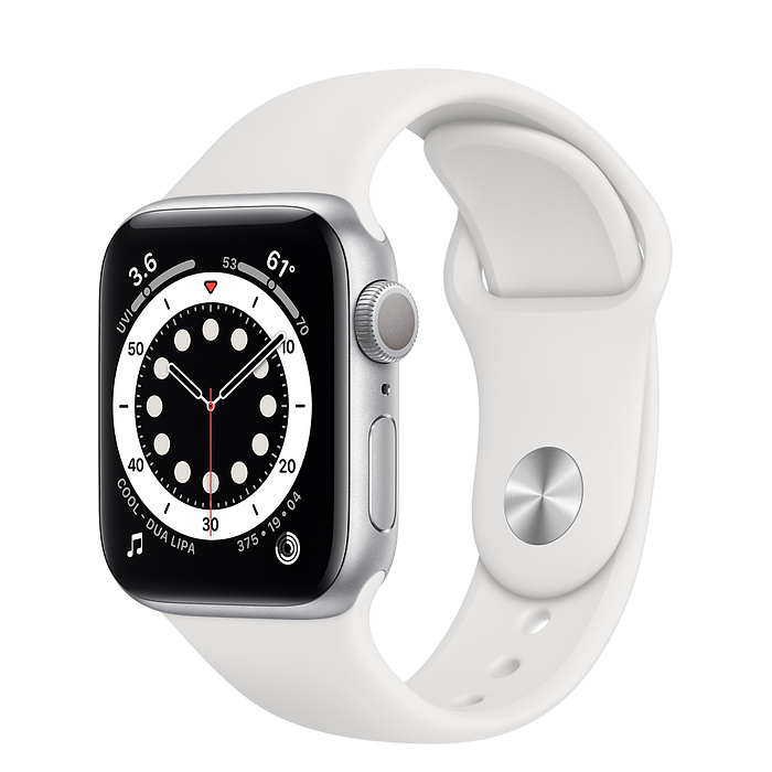 Apple Watch 6 GPS 40mm Silver / White Sport Band MG283