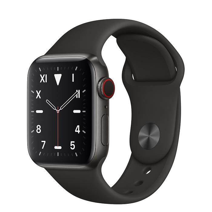 Apple Watch 5 Space Black Titanium Case 40mm with Black Sport Band