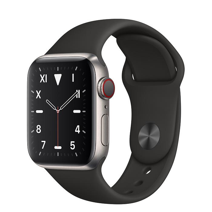 Apple Watch 5 Titanium Case 40mm with Black Sport Band