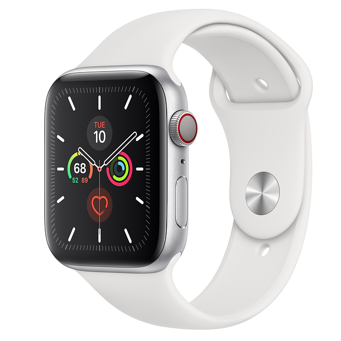Apple Watch Series 5 LTE 44MM Silver / White Sport Band