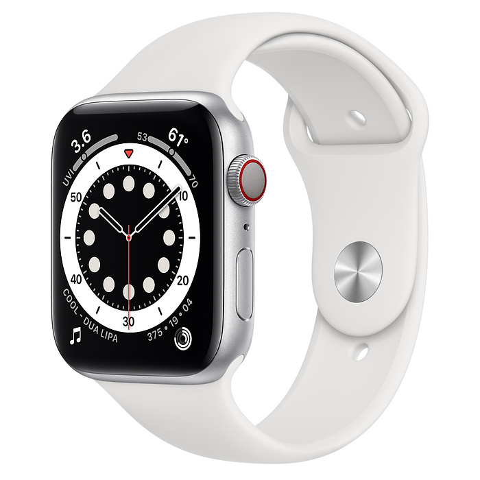 Apple Watch 6 LTE 44mm Silver / White Sport Band MG263