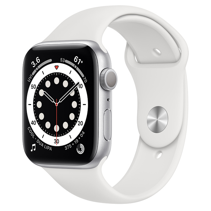 Apple Watch 6 GPS 44mm Silver / White Sport Band M00D3