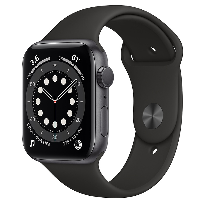 Apple Watch 6 GPS 44mm Space Gray / Black Sport Band M00H3