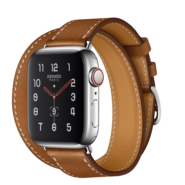 Apple Watch Hermès 40mm Stainless Steel Case with Fauve Barénia Leather Double Tour