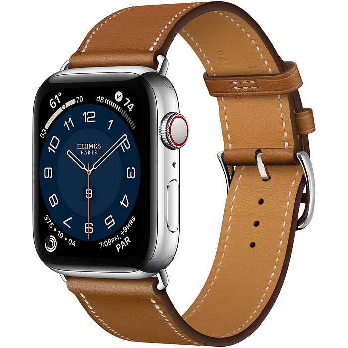 Apple Watch 6 Hermès 44mm Silver Stainless Steel Case with Single Tour  Fauve