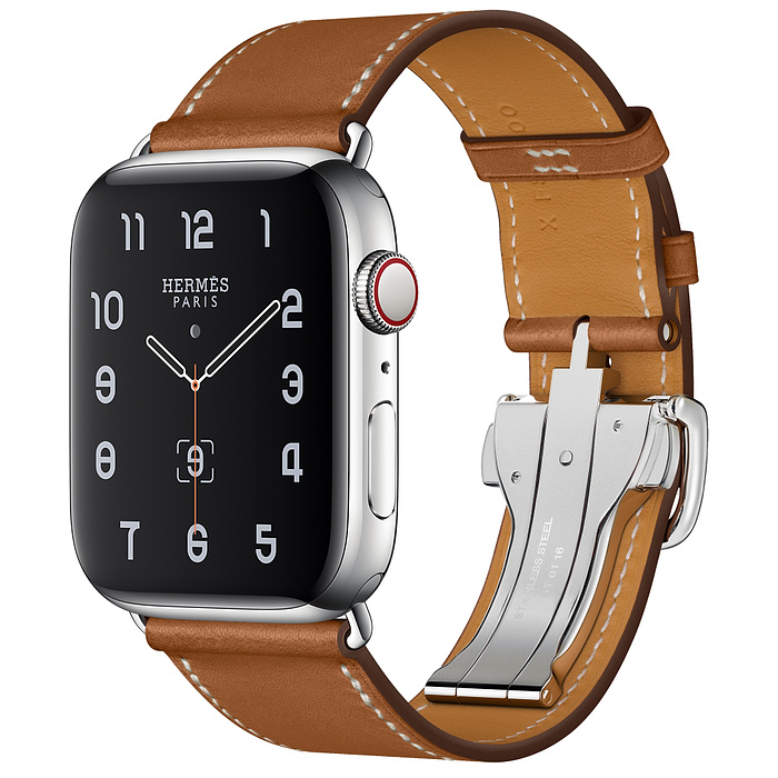 Apple Watch 5 Hermès 44mm Stainless Steel Case with Fauve Barénia Leather Single Tour