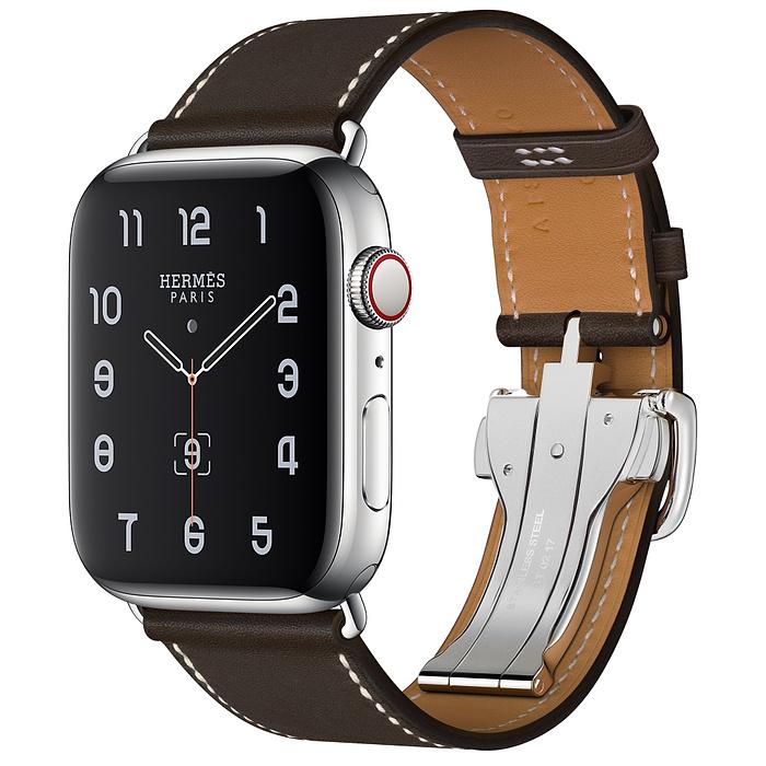 Apple Watch 5 Hermès 44mm Stainless Steel Case with Ébène Barénia Leather Single Tour Deployment Buckle