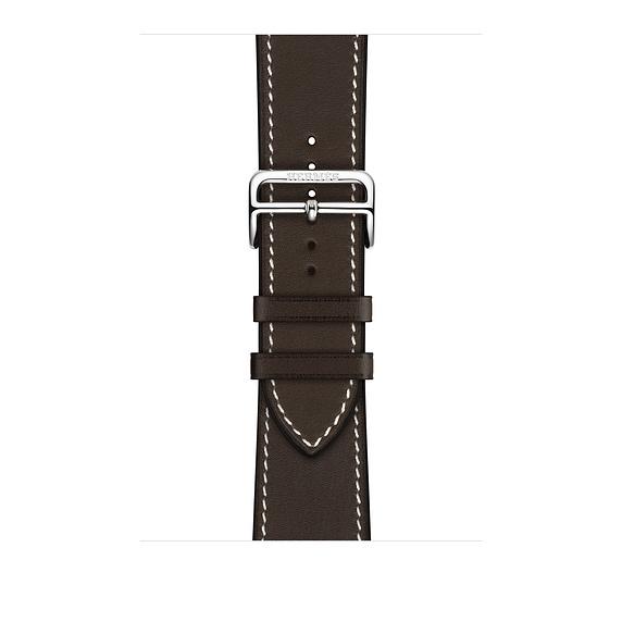 Dây Hermès - 44mm Ébène Barénia Leather Single Tour Deployment Buckle  ( Chính hãng )