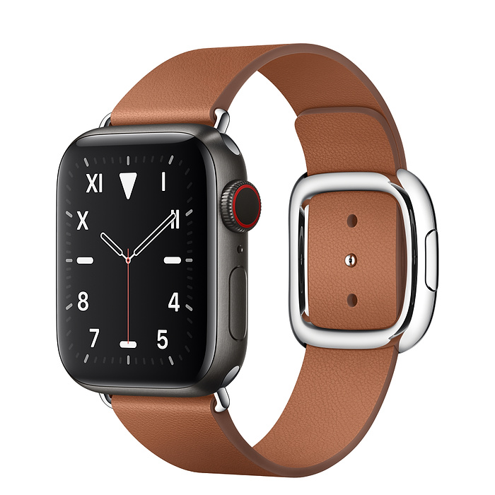 Apple Watch 5 Space Black Titanium Case 40mm with Saddle Brown Modern Buckle