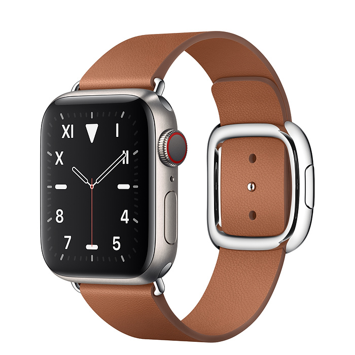 Apple Watch 5 Titanium Case 40mm with Saddle Brown Modern Buckle