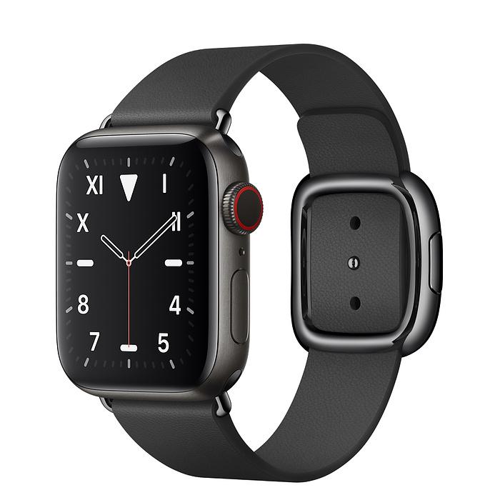 Apple Watch 5 Space Black Titanium Case 40mm with Black Modern Buckle