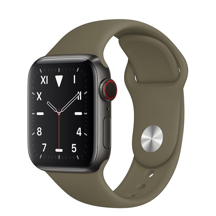 Apple Watch 5 Space Black Titanium Case 40mm with Khaki Sport Band