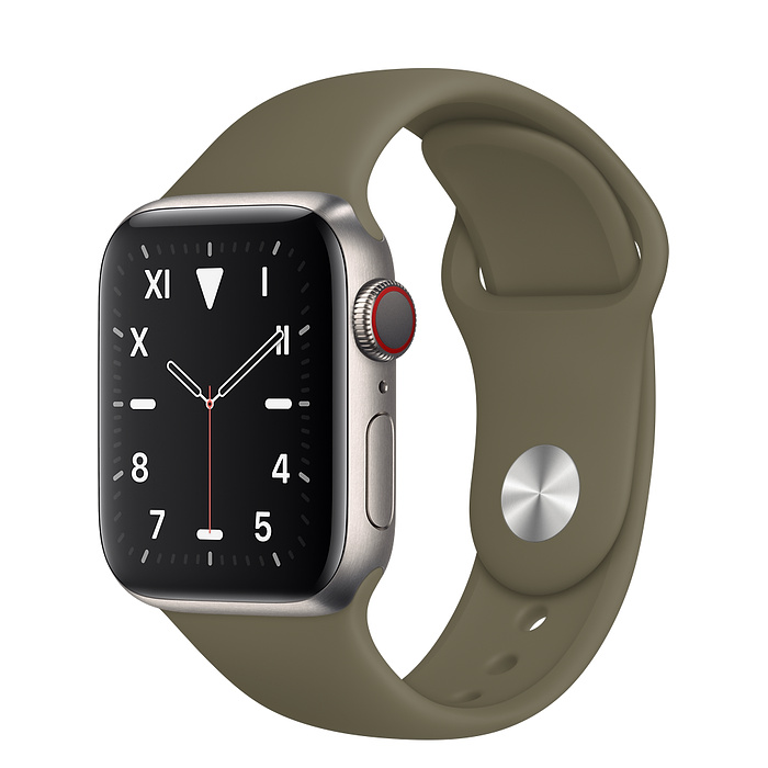 Apple Watch 5 Titanium Case 40mm with Khaki Sport Band