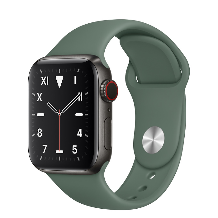 Apple Watch 5 Space Black Titanium Case 40mm with Pine Green Sport Band