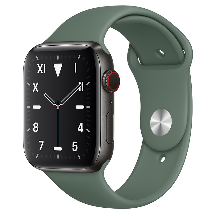 Apple Watch 5 Space Black Titanium Case 44mm with Pine Green Sport Band