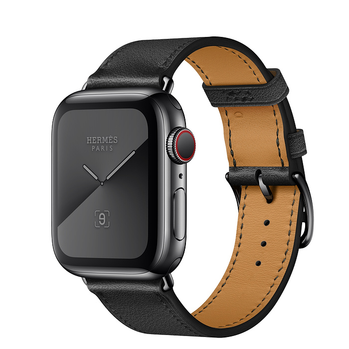 Apple Watch Hermès 40mm Space Black Stainless Steel Case with Noir Swift Leather Single Tour