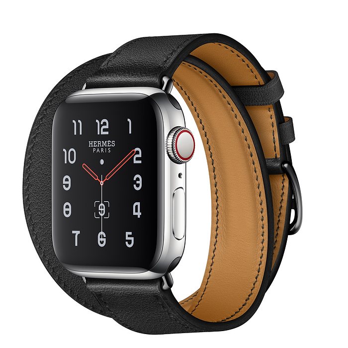 Apple Watch Hermès 40mm Stainless Steel Case with Noir Swift Leather Double Tour