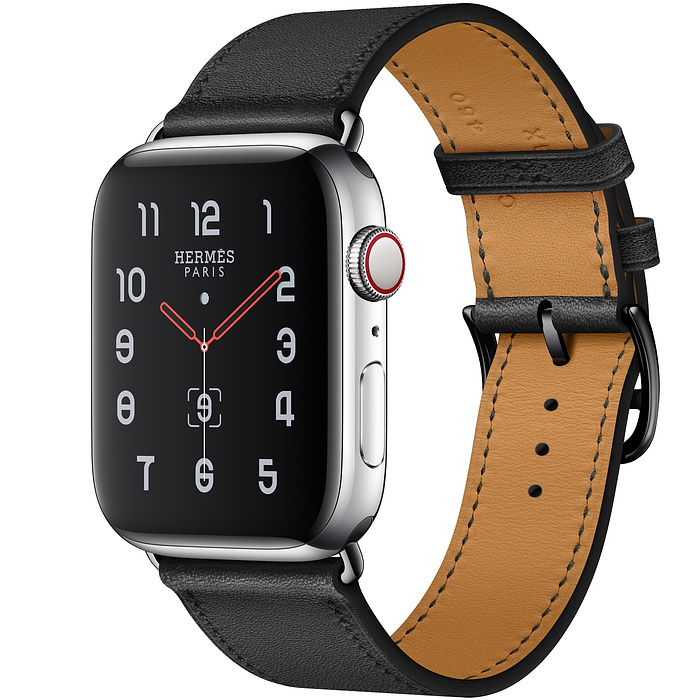 Apple Watch 5 Hermès 44mm Stainless Steel Case with Noir Swift Leather Single Tour
