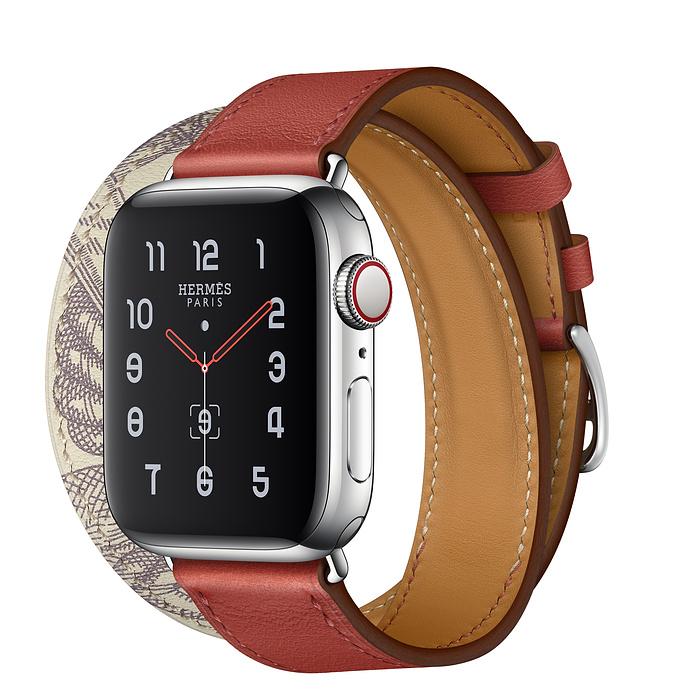 Apple Watch Hermès 40mm Stainless Steel Case with Brique/Béton Swift Leather Double Tour
