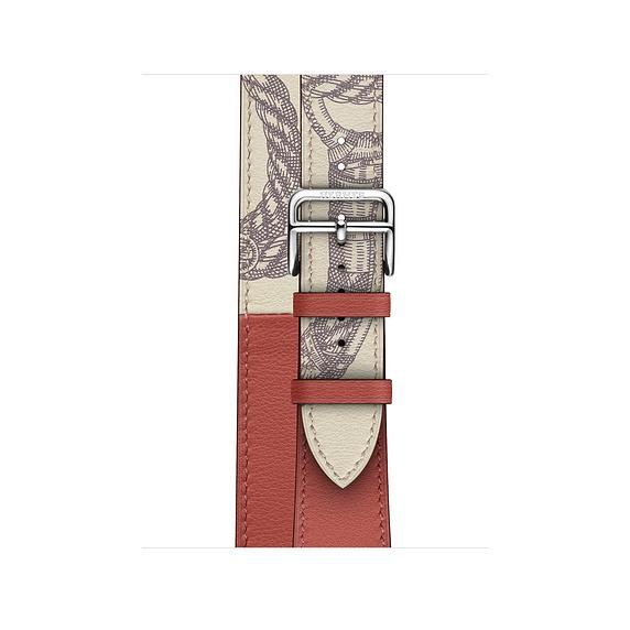 Dây Hermès - 40mm Brique/Béton Swift Leather Double Tour ( Chính hãng )