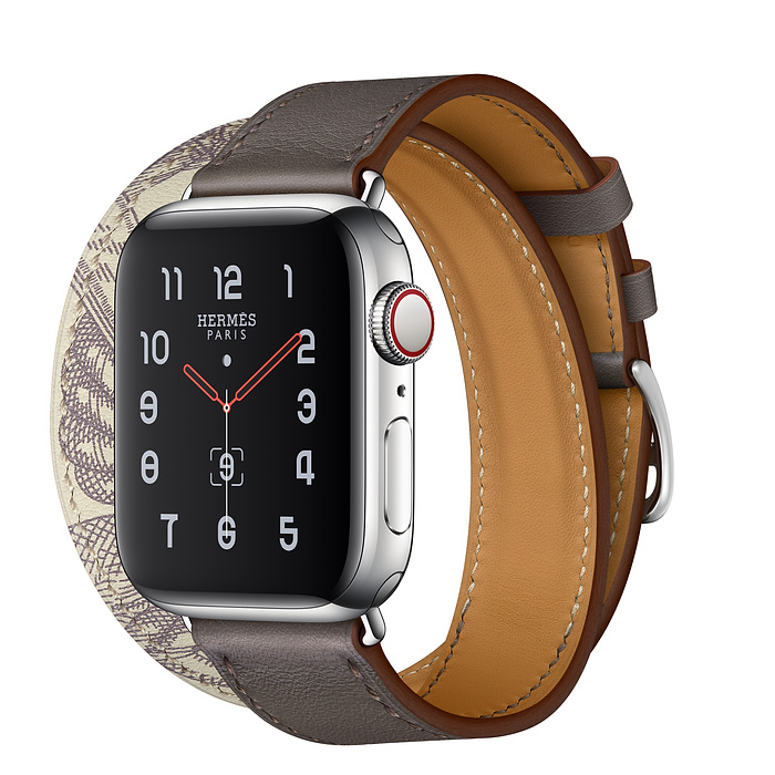 Apple Watch Hermès 40mm Stainless Steel Case with Étain/Béton Swift Leather Double Tour
