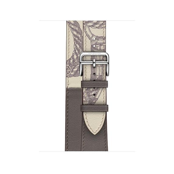 Dây Hermès - 40mm Étain/Béton Swift Leather Double Tour ( Chính hãng )