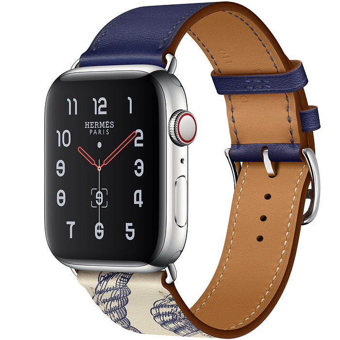 Apple Watch5 Hermès 44mm Stainless Steel Case with Encre/Béton Swift Leather Single Tour