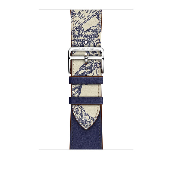Dây Hermès - 44mm Encre/Béton Swift Leather Single Tour  ( Chính hãng )