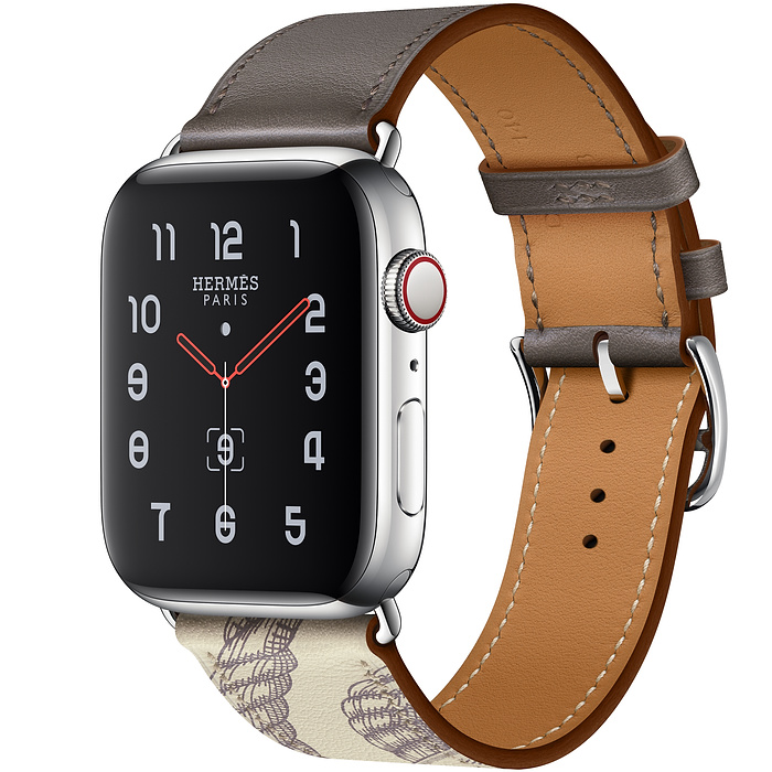 Apple Watch 5 Hermès 44mm Stainless Steel Case with Étain/Béton Swift Leather Single Tour