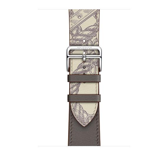 Dây Hermès - 44mm Étain/Béton Swift Leather Single Tour  ( Chính hãng )