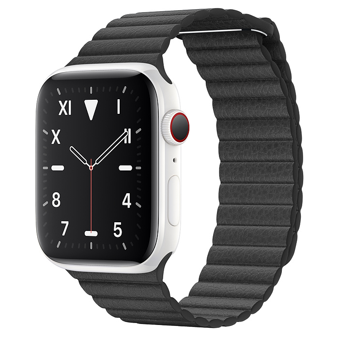Apple Watch 5 Ceramic 44mm With Black Leather Loop