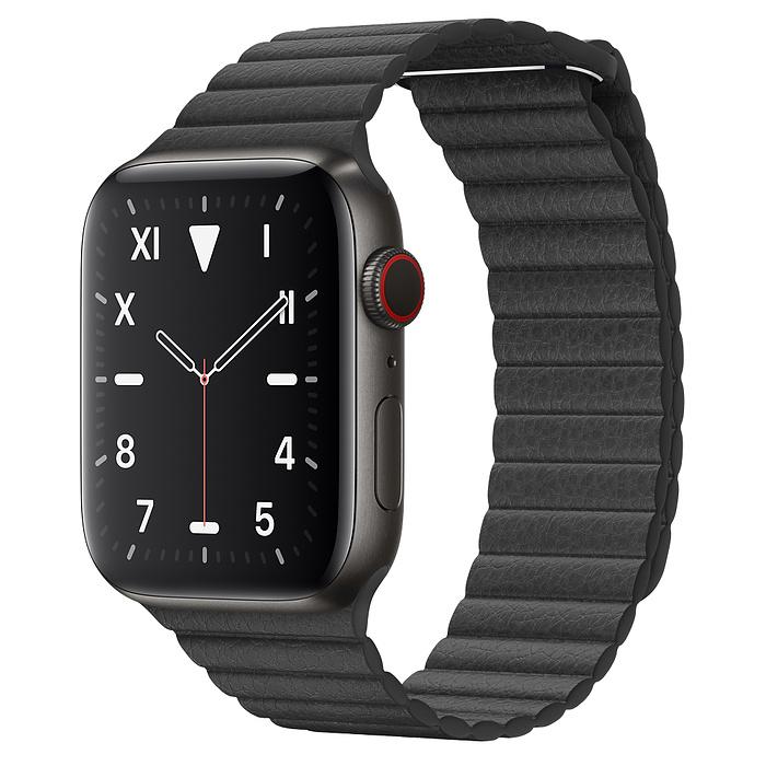 Apple Watch 5 Space Black Titanium Case 44mm with Black Leather Loop