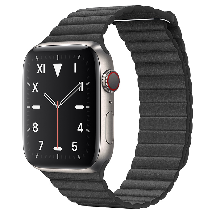 Apple Watch 5 Titanium Case 44mm with Black Leather Loop