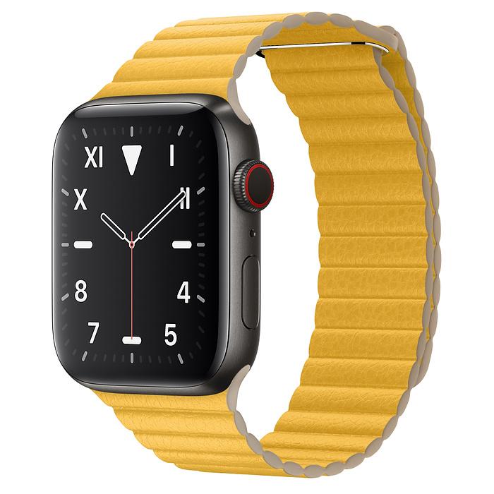 Apple Watch 5 Space Black Titanium Case 44mm with Meyer Lemon Leather Loop
