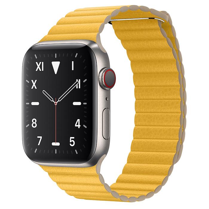 Apple Watch 5 Titanium Case 44mm with Meyer Lemon Leather Loop