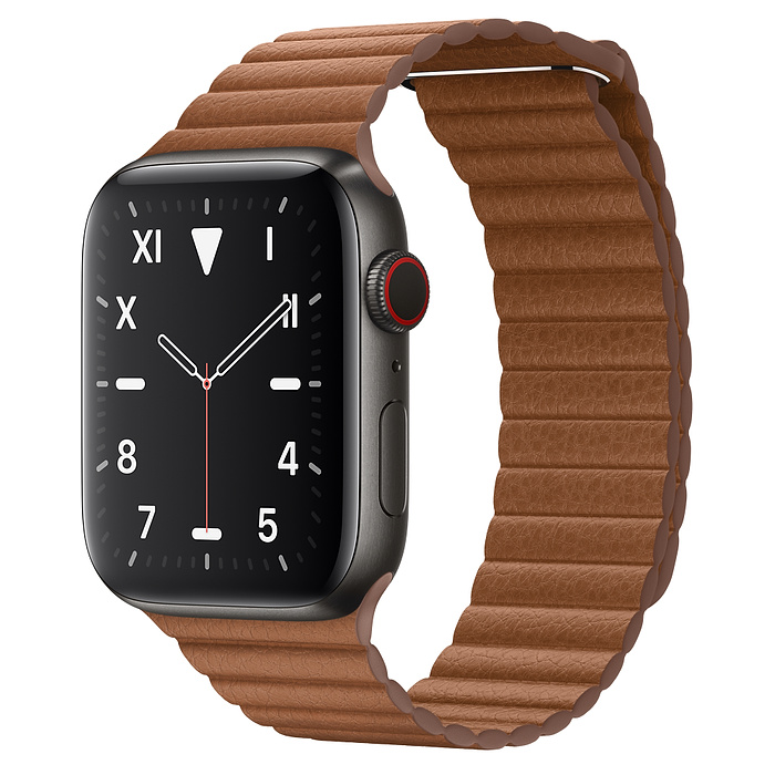 Apple Watch 5 Space Black Titanium Case 44mm with Saddle Brown Leather Loop