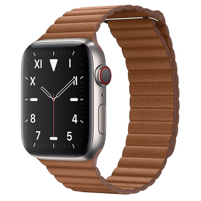Apple Watch 5 Titanium Case 44mm with Saddle Brown Leather Loop