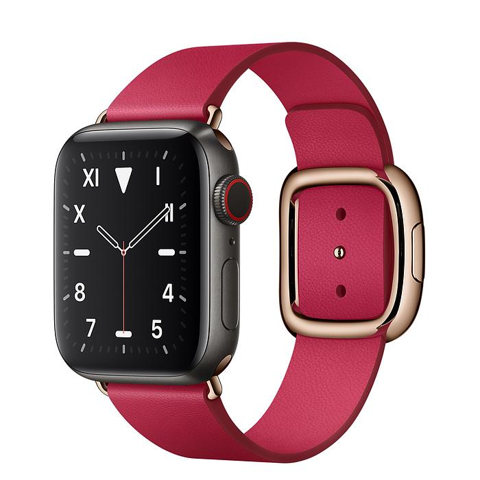 Apple Watch 5 Space Black Titanium Case 40mm with Raspberry Modern Buckle
