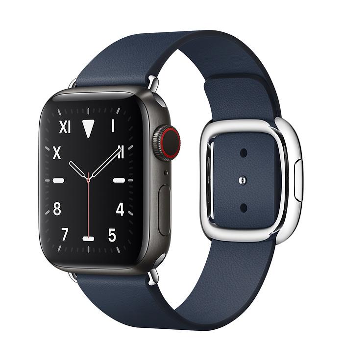 Apple Watch 5 Space Black Titanium Case 40mm with Deep Sea Blue Modern Buckle