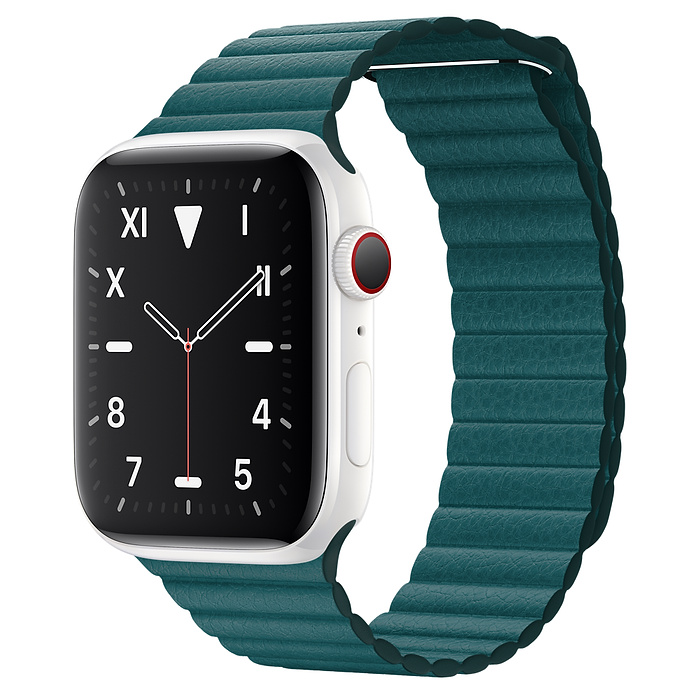 Apple Watch 5 Ceramic 44mm With Peacock Leather Loop